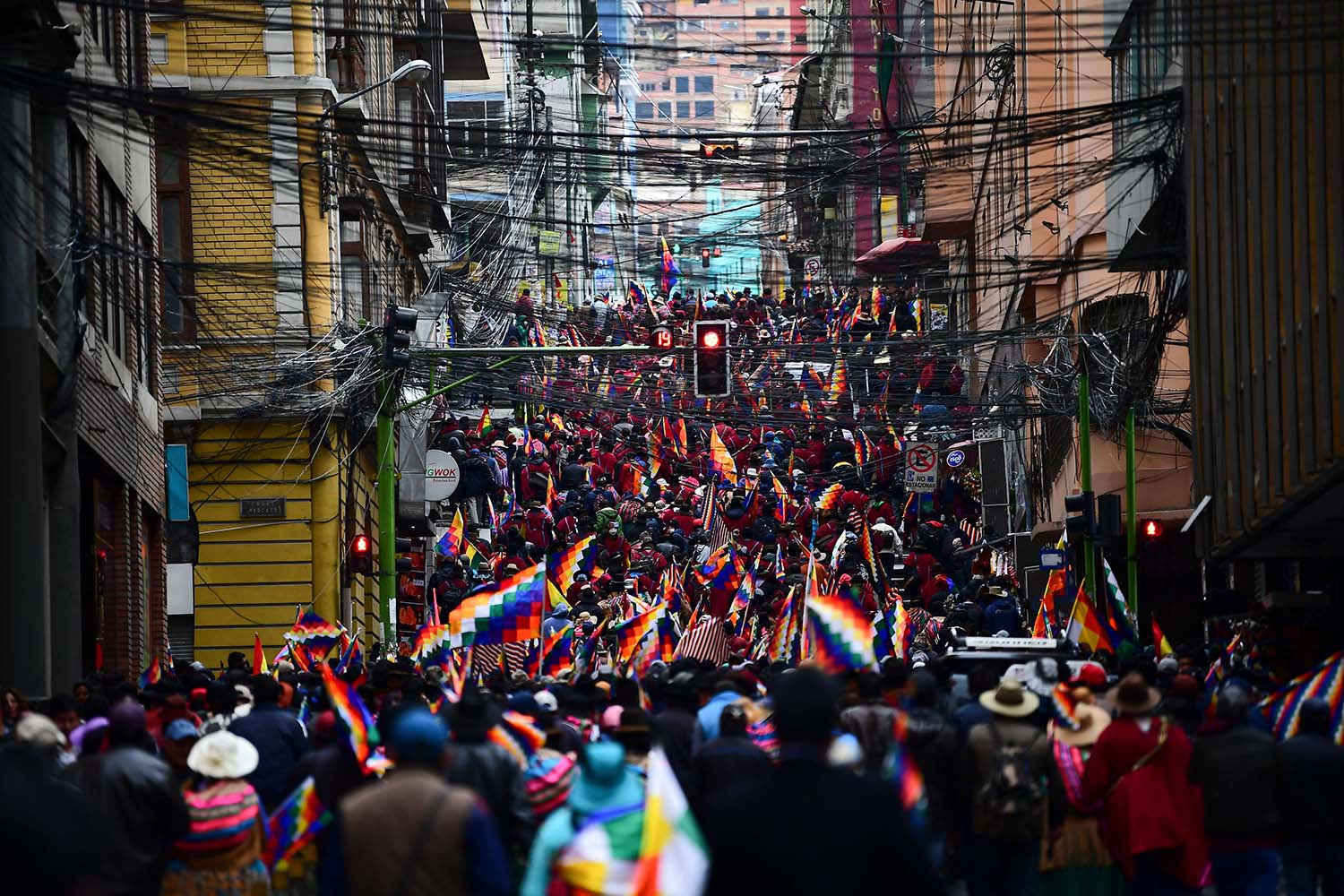 Supporters of Morales take to the streets in La Paz on Nov. 14. RONALDO SCHEMIDT/AFP via Getty Images