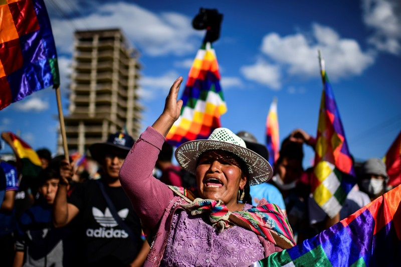 Supporters of former Bolivian President Evo Morales shout slogans during a demonstration in Cochabamba on Nov. 18. RONALDO SCHEMIDT/AFP via Getty Images