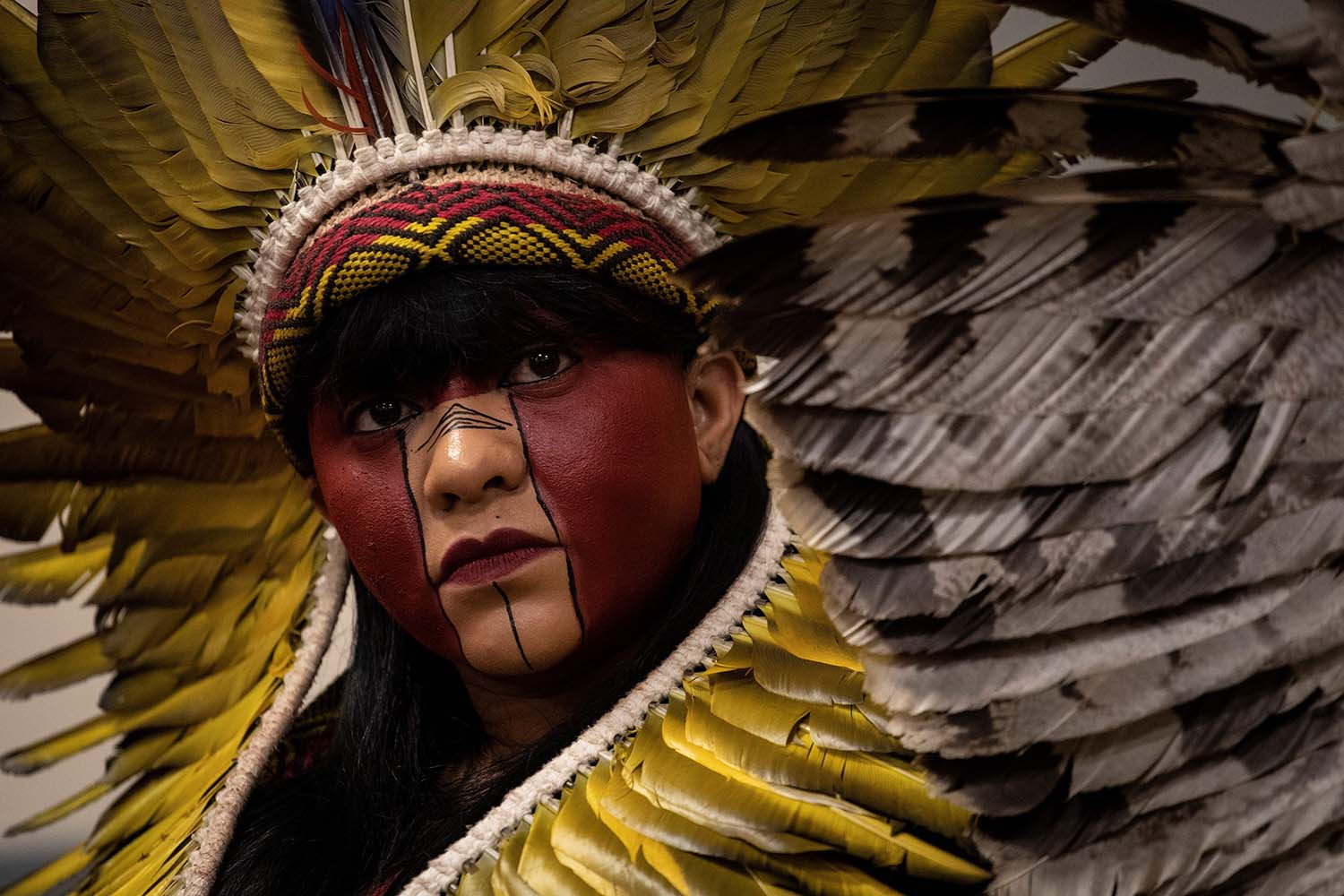 Brazilian Indigenous tribe leader Celia Xakriaba attends a press conference in Paris on Nov. 12, 2019, as part of a tour of 12 European countries calling on EU lawmakers to exert pressure on the Brazilian government to better protect the rights of indigenous communities and for scrutiny of companies profiting from deforestation in the Amazon. THOMAS SAMSON/AFP via Getty Images