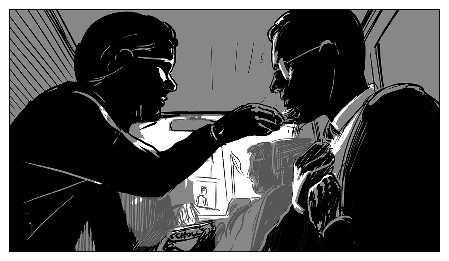 Mendez and Tugboat are silhouetted in the back of a van as she works on his disguise, a can of Dr. Scholl's foot powder in her hand. He adjusts his tie as the van approaches the embassy security guard.