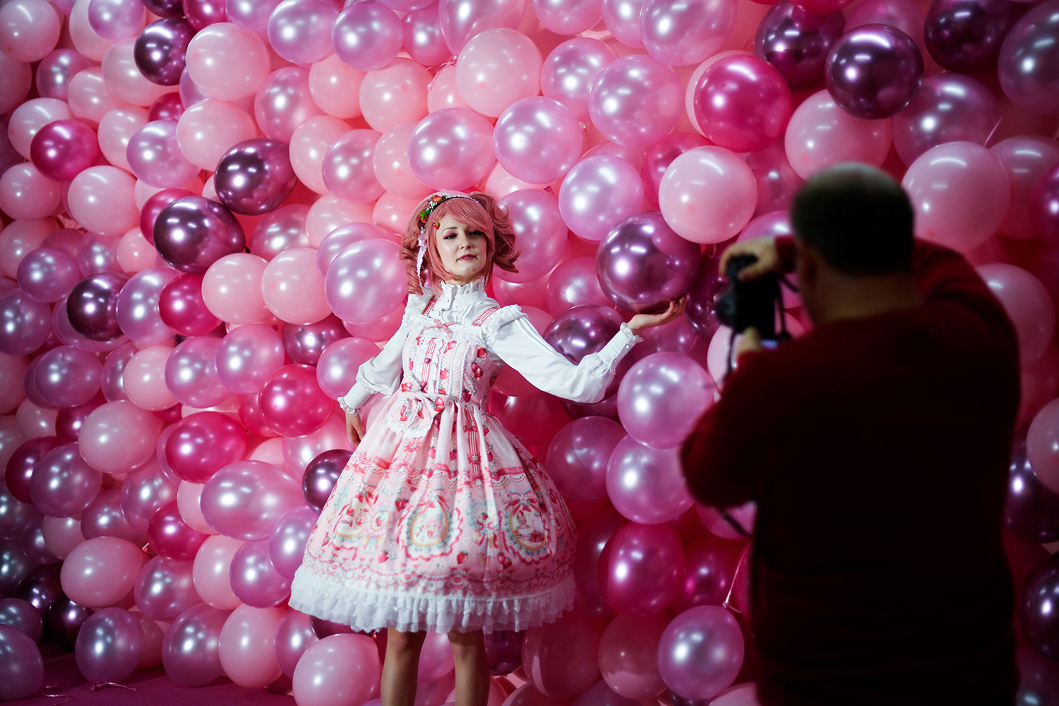 Instagram influencer Anmaykaa is photographed at the Supercandy Pop-Up Museum Vol. 2 in Cologne, western Germany, on Nov. 1. INA FASSBENDER/AFP via Getty Images