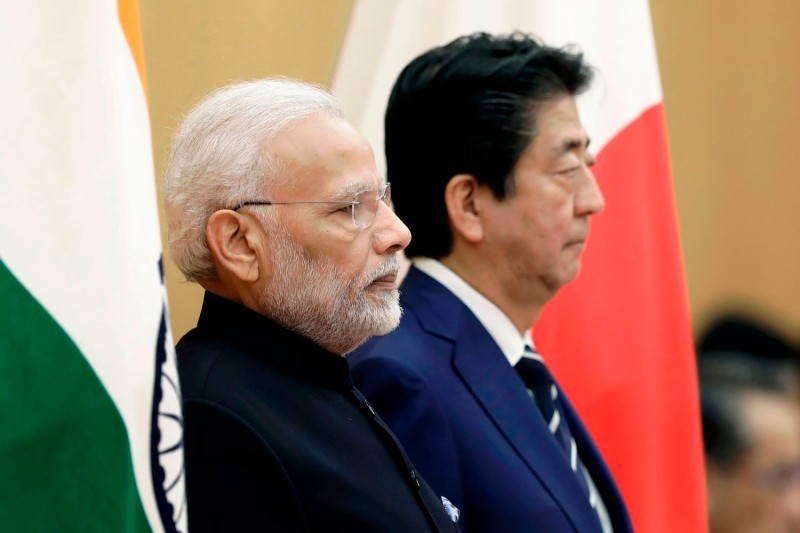 Indian Prime Minister Narendra Modi and Japanese Prime Minister Shinzo Abe