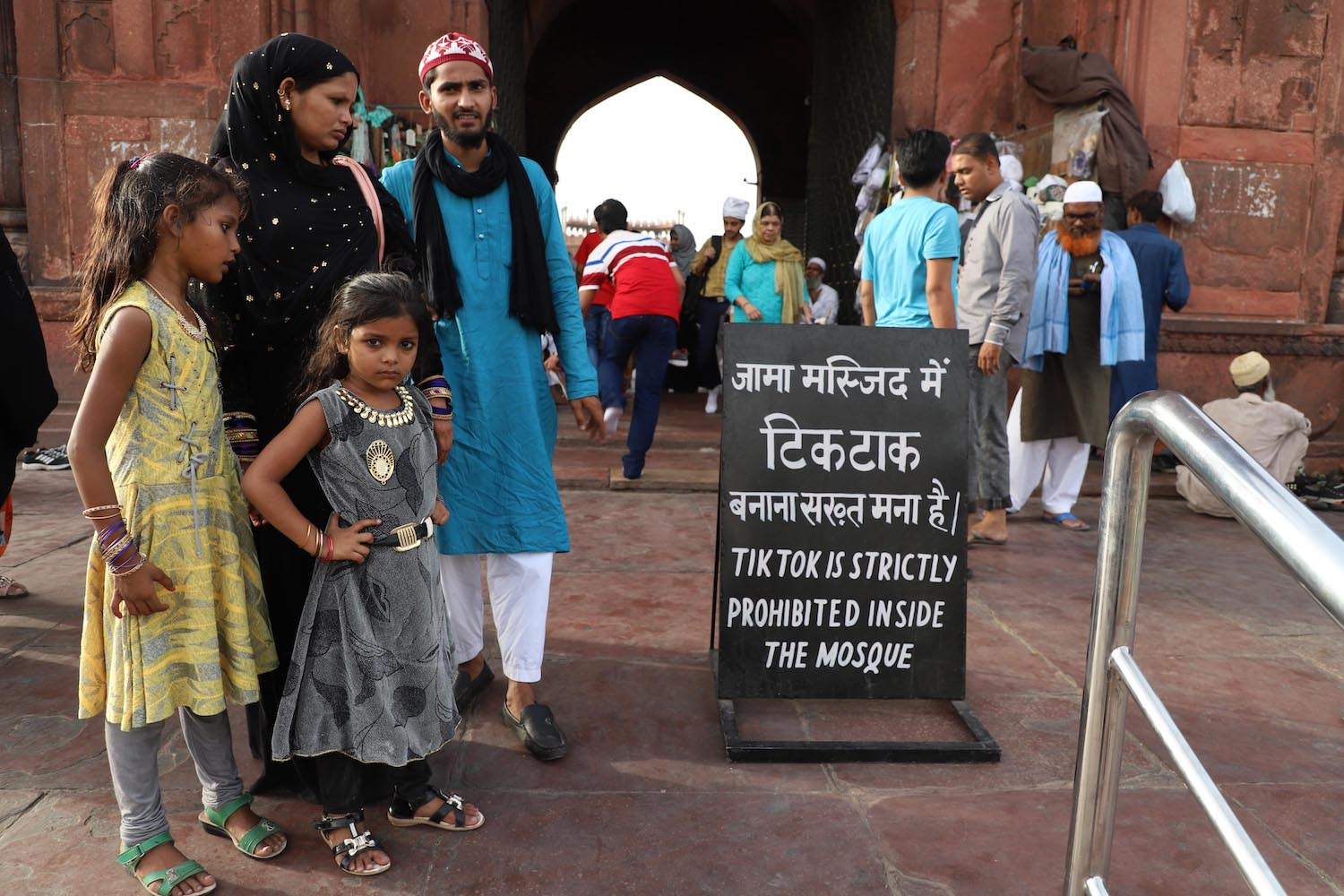 A sign outside Jama Masjid in New Delhi on June 16.