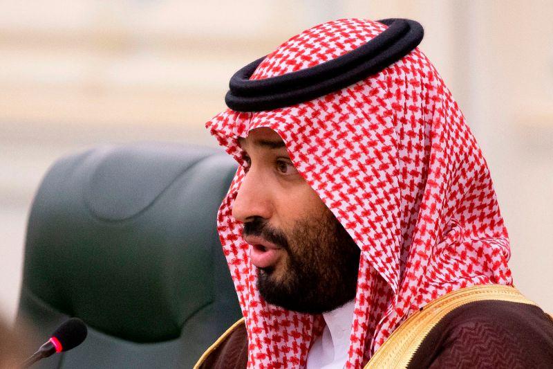 Saudi Crown Prince Mohammed bin Salman speaks during Saudi-Russian talks in Riyadh on Oct. 14.
