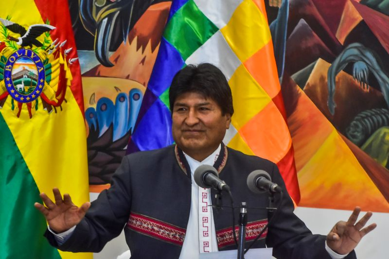 Then-Bolivian President Evo Morales speaks at a press conference in La Paz, Bolivia, on Oct. 24.