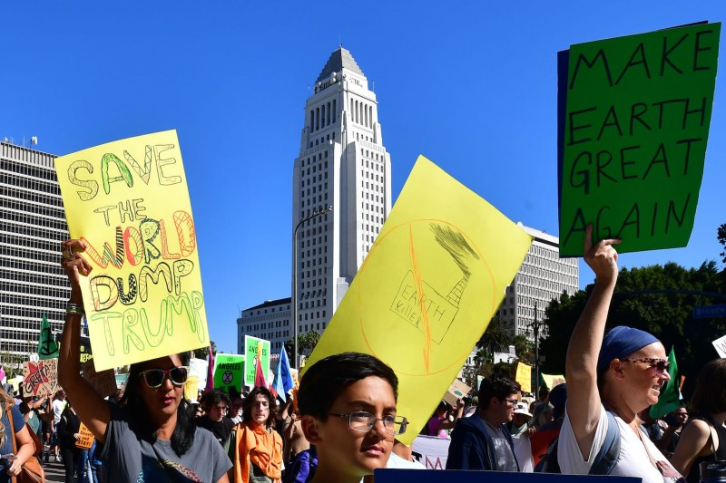 Activists march through Los Angeles during a climate change rally on Nov. 1.
