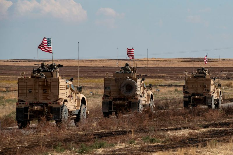 A convoy of U.S. armored vehicles in northeastern Syria on Nov. 3. (Delil Souleiman/AFP/Getty Images)