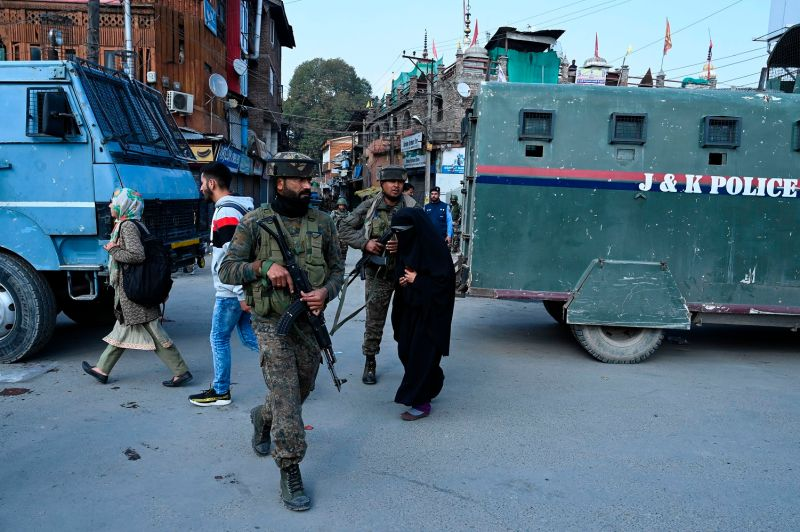 Soldiers secure an area after a grenade blast at a market in Srinagar, Kashmir, on Nov. 4.