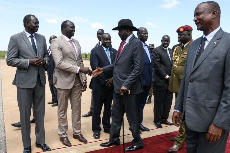 South Sudan's President Salva Kiir arrives at Juba international airpor