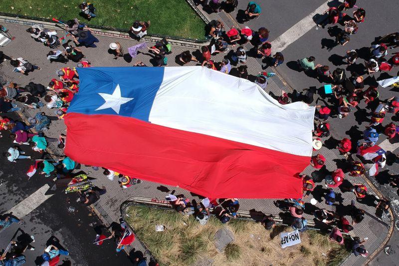 Demonstrators march through Santiago, Chile, on Nov. 12.