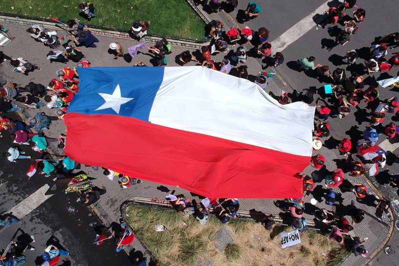 Demonstrators march through Santiago, Chile, on Nov. 12.