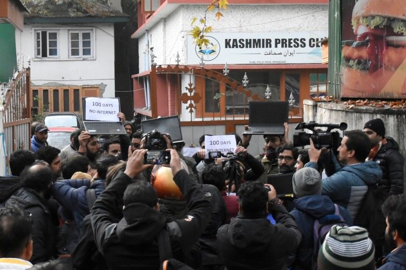 Journalists protest against Kashmir's internet blackout in Srinagar on Nov. 12.