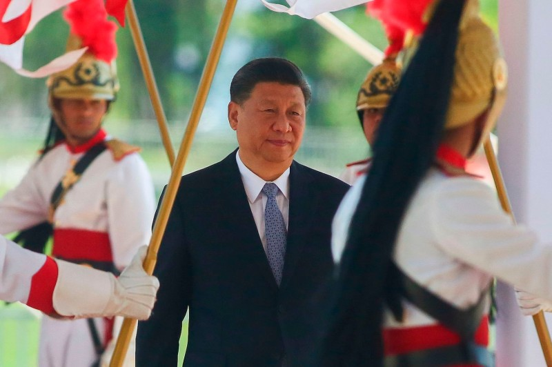 Chinese President Xi Jinping arrives for a bilateral meeting with Brazilian President Jair Bolsonaro (out of frame) ahead of the 11th edition of the BRICS Summit in Brasília on Nov. 13.