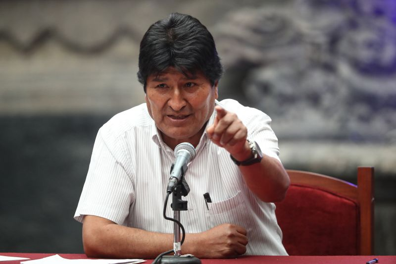 Former Bolivian President Evo Morales speaks during a press conference after being granted asylum in Mexico City on Nov. 13.