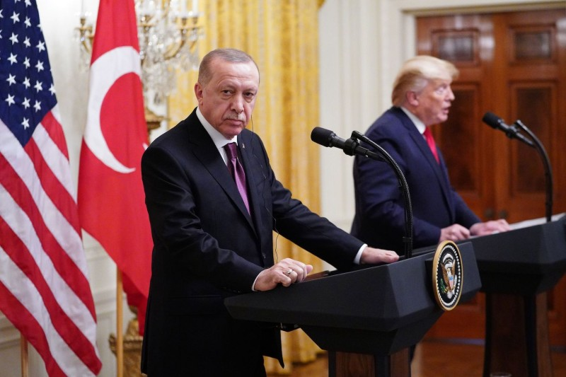 U.S. President Donald Trump and Turkish President Recep Tayyip Erdogan take part in a joint press conference in the East Room of the White House in Washington on Nov. 13.