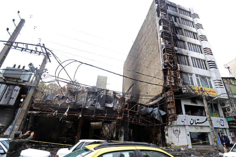View of Tehran shops that were destroyed after nationwide demonstrations broke out in protest of fuel price hikes and led to widespread destruction of property, on Nov. 20.