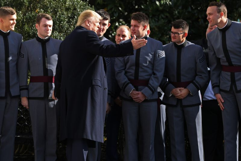 U.S. President Donald Trump talks with West Point cadets