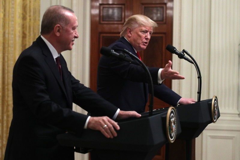Turkish President Recep Tayyip Erdogan and U.S. President Donald Trump participate in a joint news conference in the East Room of the White House on Nov. 13 in Washington.