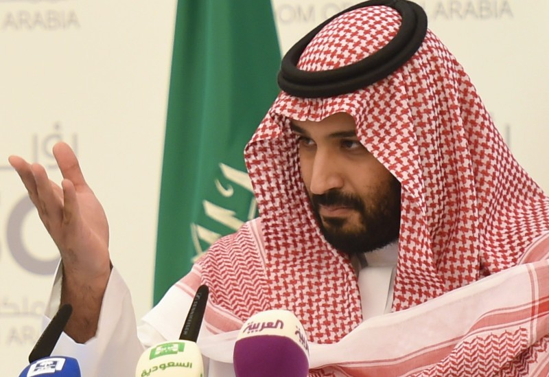 Saudi Crown Prince Mohammed bin Salman gestures during a press conference in Riyadh on April 25, 2016.