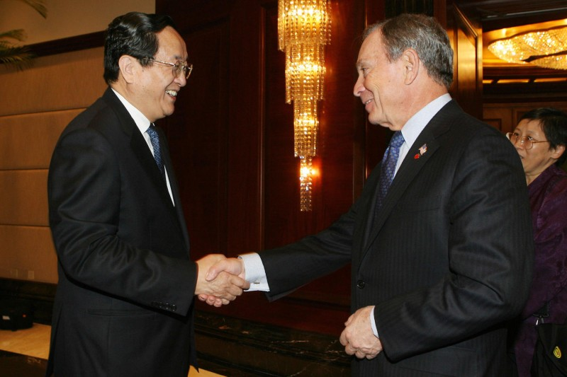 Then-New York City Mayor Michael Bloomberg, right, meets with Shanghai Communist Party Secretary Yu Zhengsheng at the Radisson Hotel in Shanghai on Dec. 12, 2007.