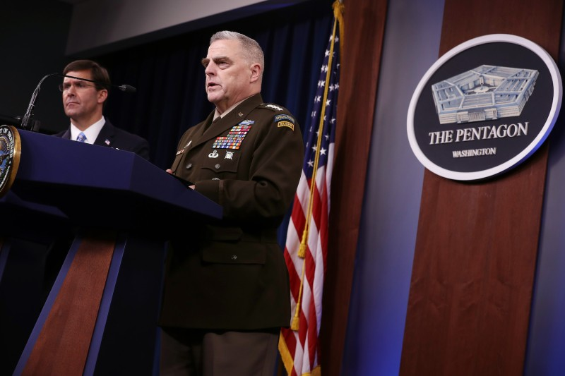 U.S. Defense Secretary Mark Esper and Chairman of the Joint Chiefs of Staff Mark Milley hold a news conference at the Pentagon on Oct. 28.