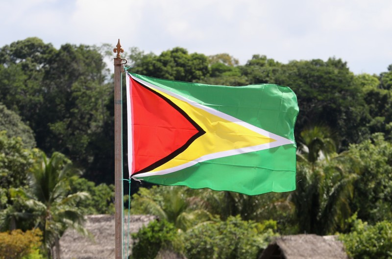 The flag of Guyana is seen in Surama on Dec. 3, 2016.