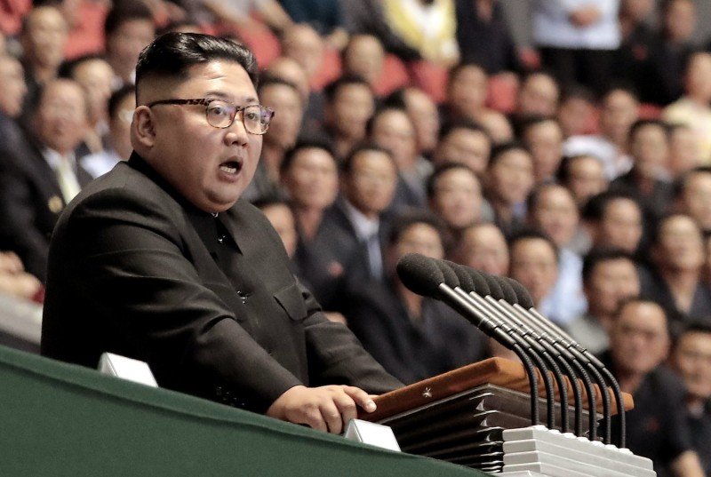 North Korean leader Kim Jong Un speaks at the May Day Stadium in Pyongyang, North Korea, on Sept. 19, 2018.