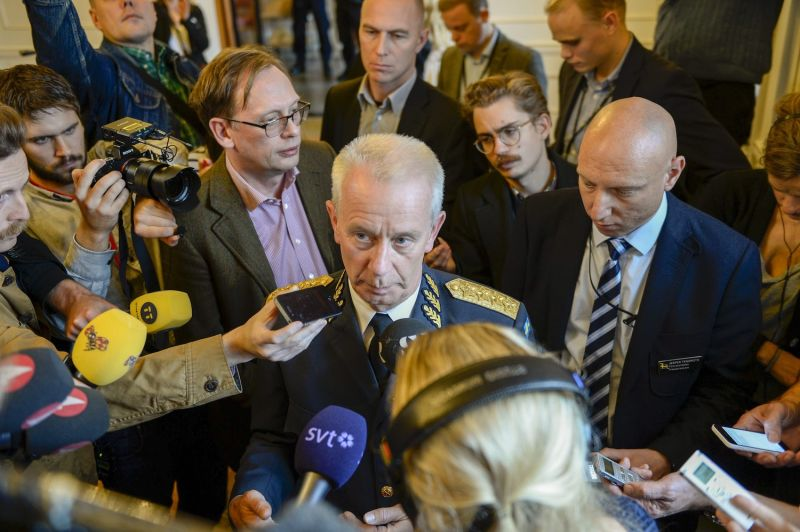 Swedish Commander in Chief Sverker Goranson talks to media after a nearly two-hour-long meeting with the Swedish parliament defense committee in Stockholm on their fifth day of searching for a suspected foreign vessel in the Stockholm archipelago on Oct. 21, 2014.