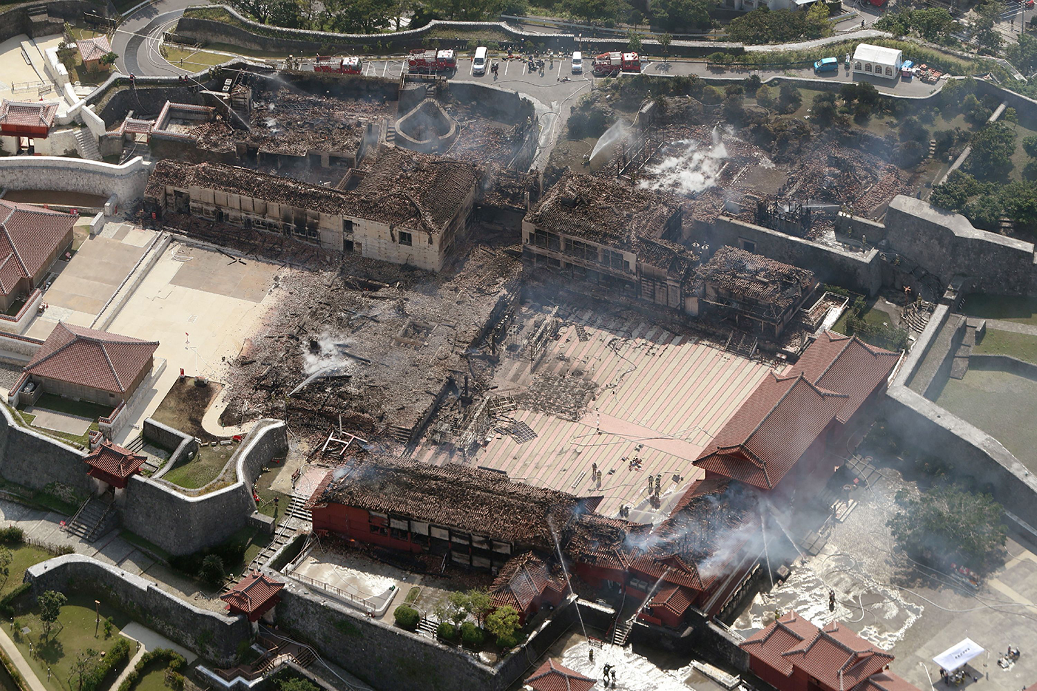 The remains of Shuri Castle are seen from above after a fire ripped through the historic site in Naha, Japan's southern Okinawa prefecture, on Oct. 31. STR/JIJI PRESS/AFP via Getty Images