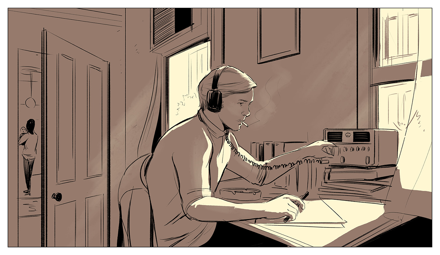 Barsky listens to his shortwave radio, running his spy operation out of half of a typical modest New York apartment while his girlfriend and baby live in the other half of the space.