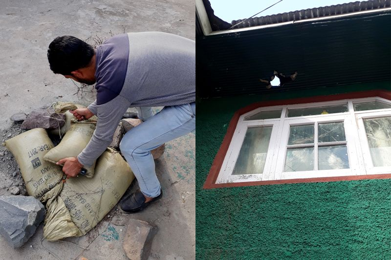 Left: Muhammad Naseer Sheikh covers the hole where an unexploded live shell is buried in Chakra, Indian-administered Kashmir, on Nov. 1. Right: The mortar fired from across the Line of Control hit the tin roof of Sheikh's residence before getting buried in the ground near his house.