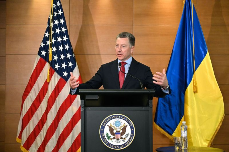 Kurt Volker, then-U.S. special envoy to Ukraine, speaks during a press conference in Kyiv on July 27.