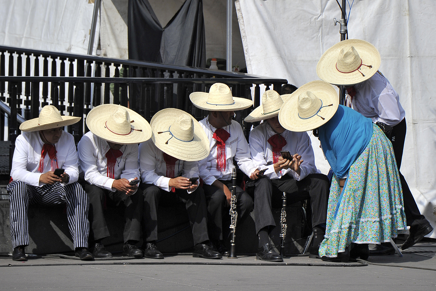 People wait to perform in a parade commemorating the 109th anniversary of the Mexican Revolution in Mexico City on Nov. 20. CLAUDIO CRUZ/AFP via Getty Images