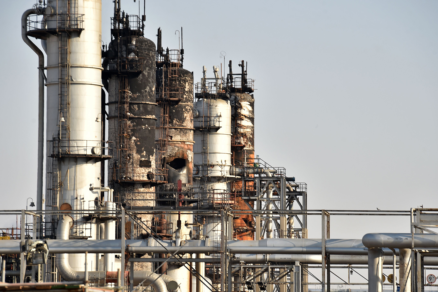 A destroyed installation in Saudi Arabia's Abqaiq oil processing plant on Sept. 20.