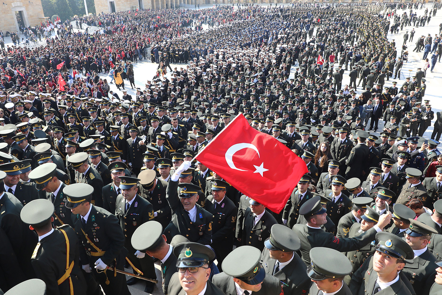 Military personnel gather at the Anitkabir, the mausoleum of Mustafa Kemal Ataturk, founder of the Turkish Republic, as part of 96th Republic Day commemorations in Ankara on Oct. 29. ADEM ALTAN/AFP via Getty Images