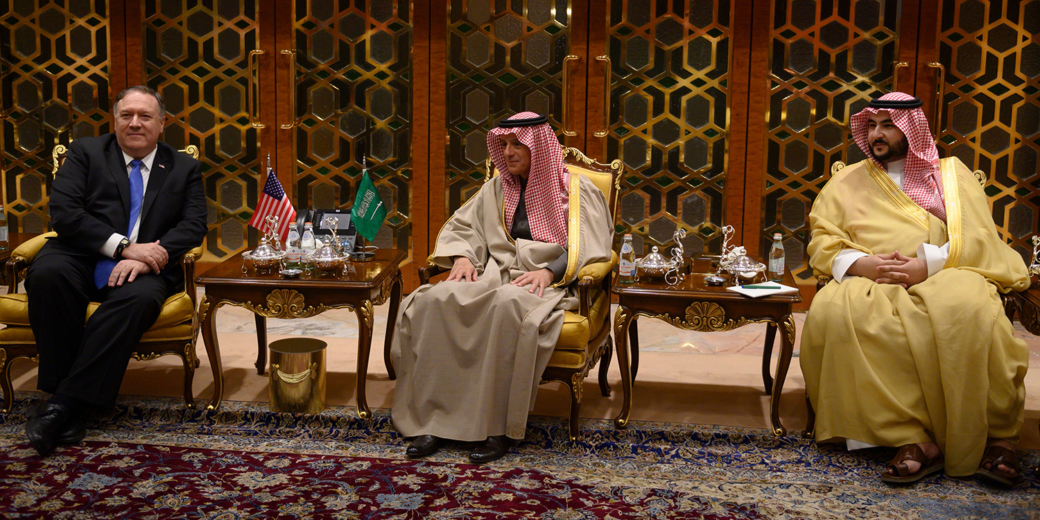 U.S. Secretary of State Mike Pompeo meets with Saudi's Minister of State for Foreign Affairs Adel al-Jubeir (center) and Khalid bin Salman in Riyadh on Jan. 13.