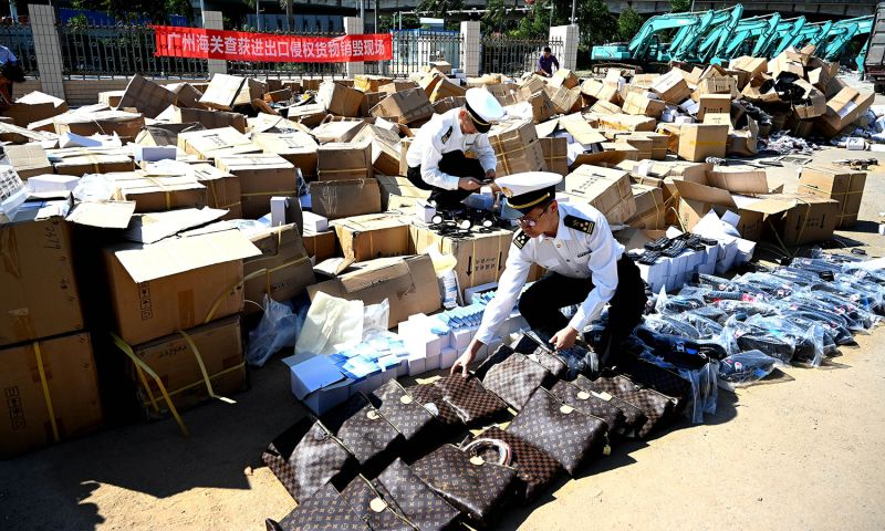 Customs officers destroy counterfeit products