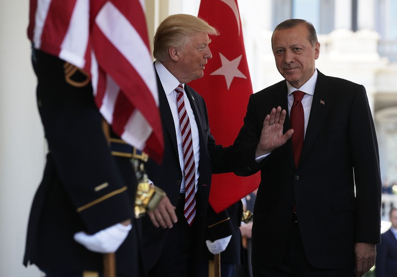 U.S. President Donald Trump welcomes Turkish President Recep Tayyip Erdogan outside the West Wing of the White House on May 16, 2017 in Washington.