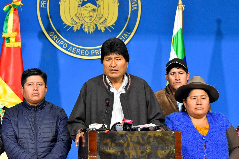 Bolivian President Evo Morales speaks during a press conference on Nov. 10 in La Paz, Bolivia.