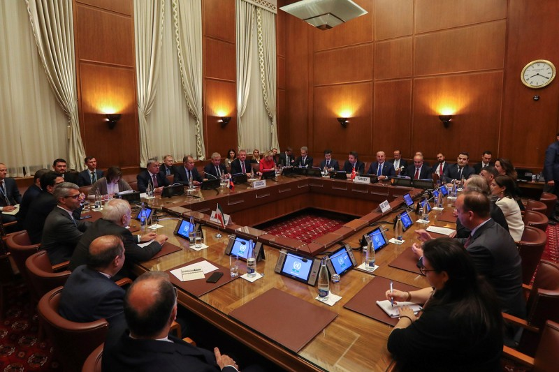 Representatives from Turkey, Russia, Iran, and Syria join Geir Pedersen, the United Nations special envoy for Syria, at the Syrian Constitutional Committee meeting in Geneva on Oct. 29.