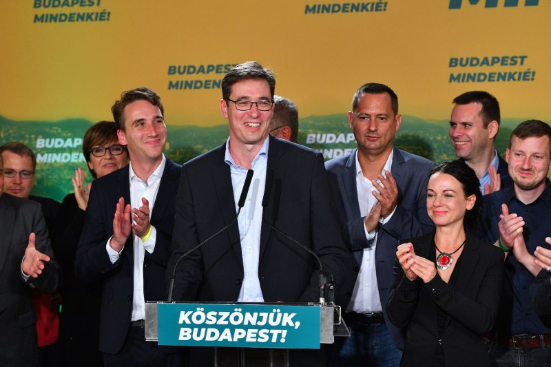 Gergely Karacsony addresses an audience in Budapest, Hungary, after his victory in the capital city's mayoral election.