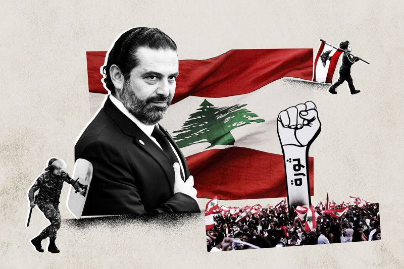 An illustration including images of Saad Hariri, the Lebanese protestors, and the Lebanese flag.