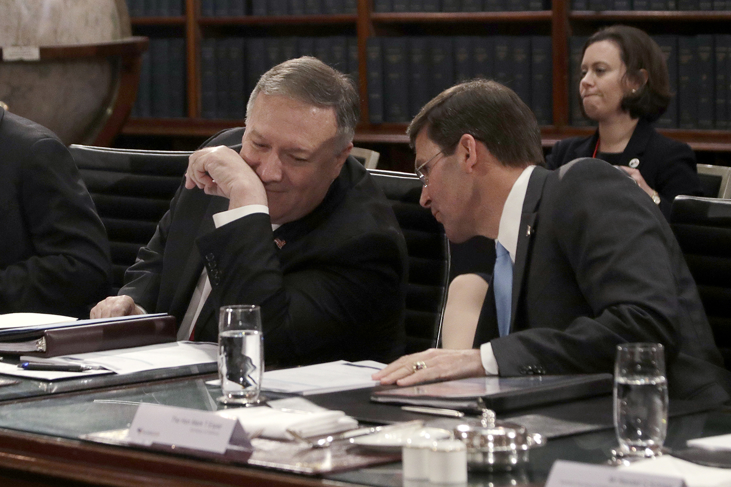 U.S. Secretary of State Mike Pompeo confers with Esper at the beginning of bilateral talks with Australian counterparts in Sydney, Australia, on Aug. 4.