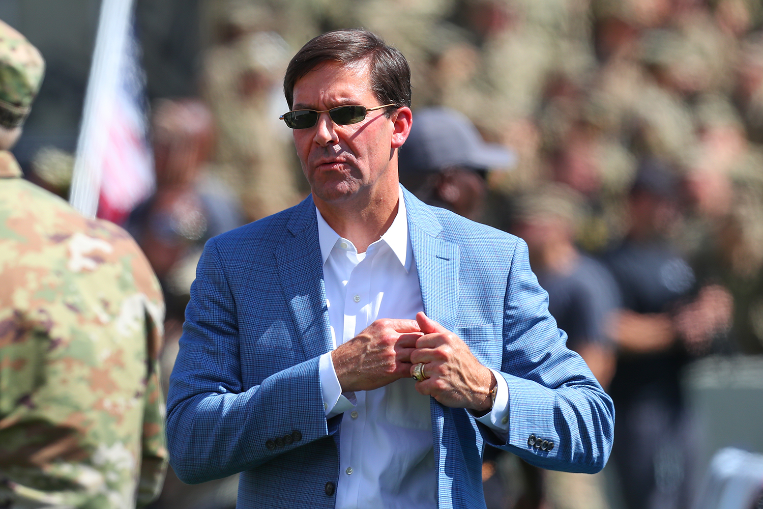 Esper, then secretary of the Army, attends a college football game in West Point, New York, on Sept. 15, 2018.