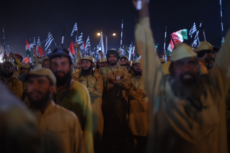 Activists from the Jamiat Ulama-e-Islam party gather during the anti-government Azadi March in Islamabad on Nov. 3.