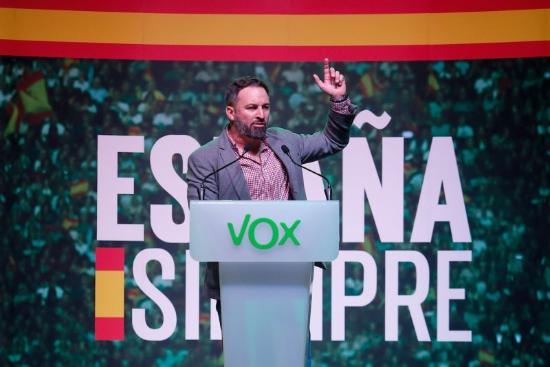 Santiago Abascal, the leader of Spain's far-right Vox party, delivers a speech during a rally southwest of Barcelona on Oct. 31.