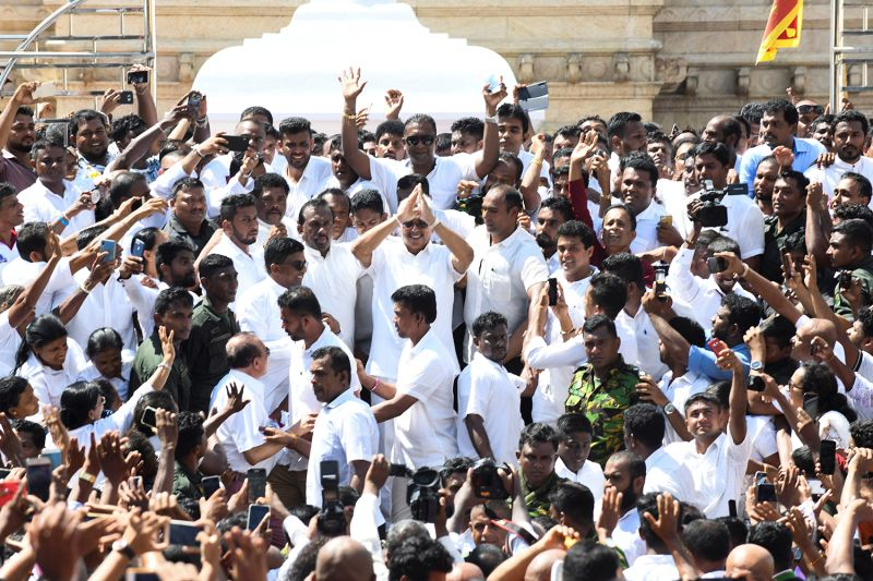 Sri Lanka's President-elect Gotabaya Rajapaksa arrives to take oath of office in Anuradhapura, Sri Lanka, on Nov. 18.