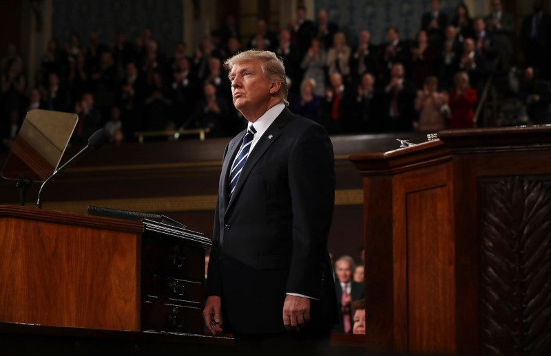 U.S. President Donald Trump addresses a joint session of Congress at the U.S. Capitol in Washington on Feb. 28, 2017.