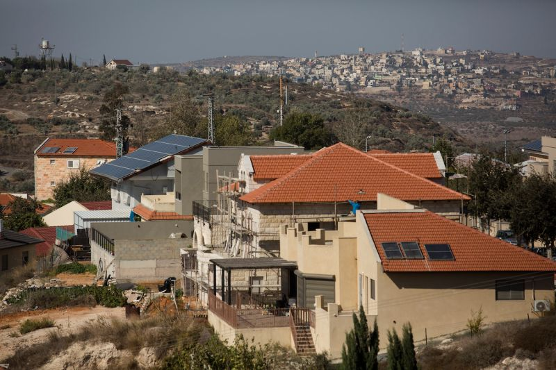 A view of houses in the Israeli settlement of Kedumim in the West Bank.