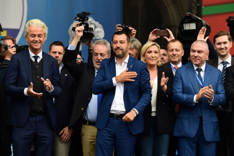 (L-R) Leader of the Dutch Party for Freedom Geert Wilders, Belgian Vlaams Belang party member Gerolf Annemans, Italy's League party leader, Matteo Salvini, president of the French National Rally party, Marine Le Pen, and others at a rally of European nationalists ahead of European elections on May 18 in Milan.